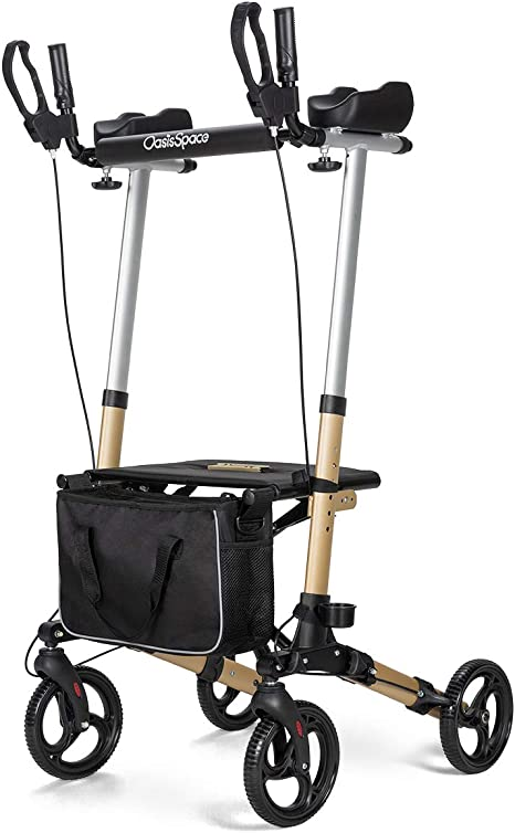 OasisSpace Lightweight Upright Walker- Stand up Rollator Walker with Forearm Support for Senior (Champagne)