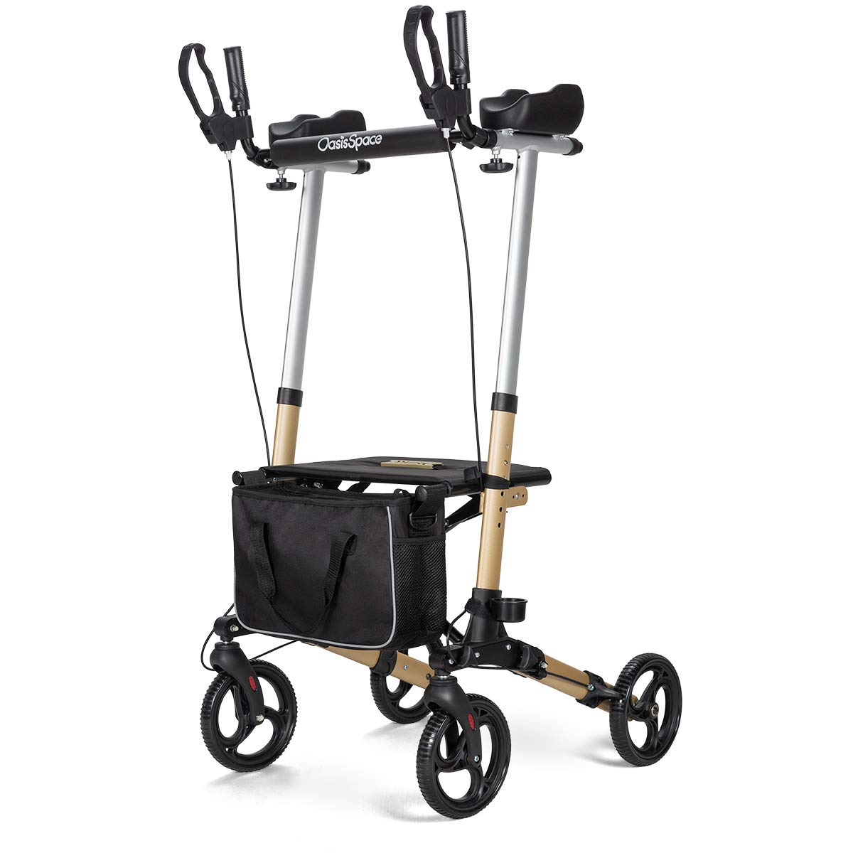 OasisSpace Lightweight Upright Walker- Stand up Rollator Walker with Forearm Support for Senior (Champagne) by OasisSpace