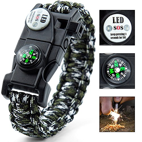 Paracord Bracelet,Survival Bracelet,Outdoors Survival With Compass Fire Starter And Whistle Emergency Survival Kit Easymoo
