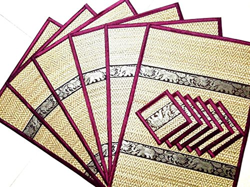 new-6-pcs-elephant-reed-silk-placemat-coaster-thai-handmade-table-mat-dining