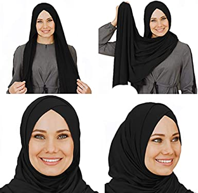 Amazon Com Cotton Head Scarf Instant Black Hijab Ready To Wear Muslim Accessories For Women Black Clothing
