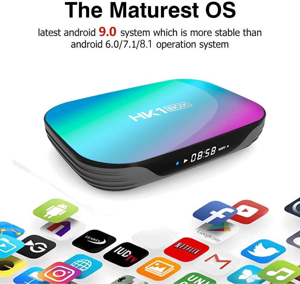 2.4G//5G dual WiFi BT4.0 H.265 Decoding LAN 1000 RJ-45 S905X3 Quad Core 64bit Cortex-A55 Sofobod HK1 Box TV Box Android 9.0 GPU G31/™ MP2 4GB RAM 128GB ROM HD 8K Smart TV Box