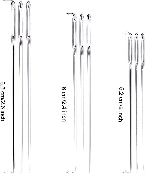 lorelo 3 Pieces Wooden Needles Holder Wood Needle Case Sewing Needles Storage for Storing Fine Needles with 30pcs Threading Needles