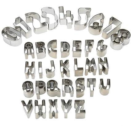 HUAFA 35 piezas Cookie cortadores de fondant – juego de Alfabeto número símbolos matemáticos molde de