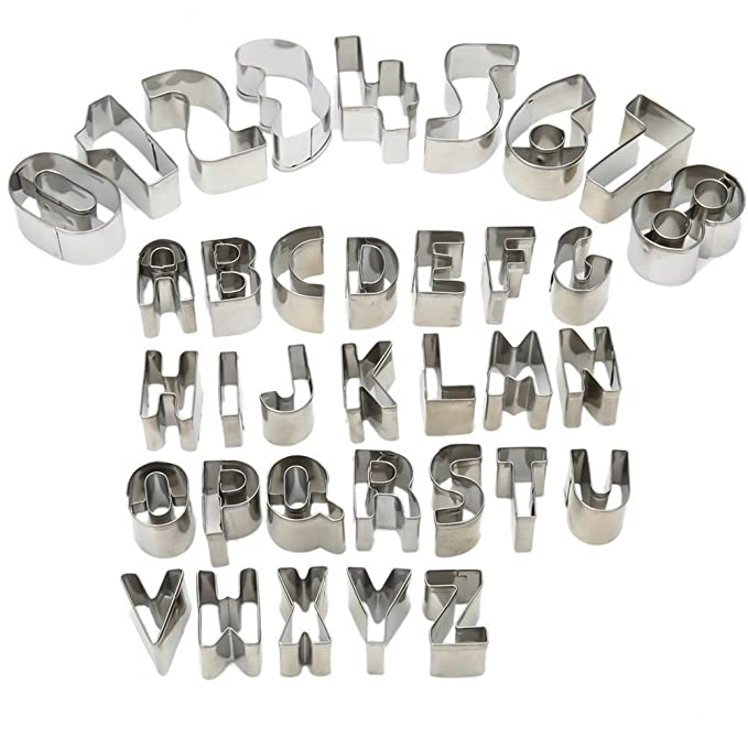HUAFA 35 piezas Cookie cortadores de fondant - juego de Alfabeto número símbolos matemáticos molde de cocción de galletas con caja de almacenaje, ...