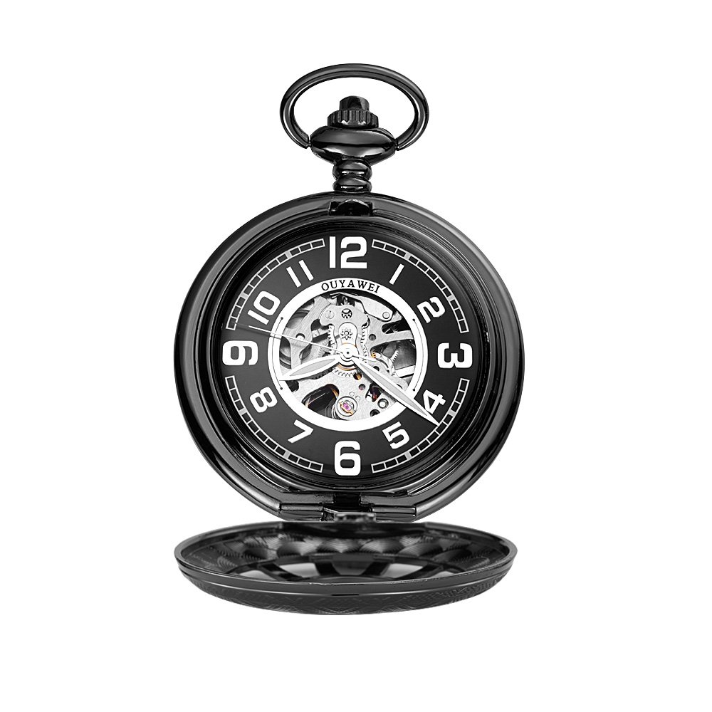 OUYAWEI Sailors Series Skeleton Mechanical Hand-wind Pocket Chain Watch (Black) by OUYAWEI