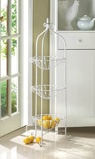 Charming 39u0026quot; White Metal 3 Tier Fruit Vegetable Basket Plant Food Stand Finial  Top