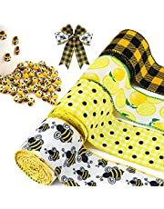 Hysagtek 4 Rolls Bumble Bee Ribbon Lemon Wired Edge Ribbon with 50PCS Tiny Resin Bees Decor Polka Dot Check Burlap Decorative Ribbon for Crafts, Bows, Wreaths, Wrapping, Width 2.5 in, Total 24 Yards