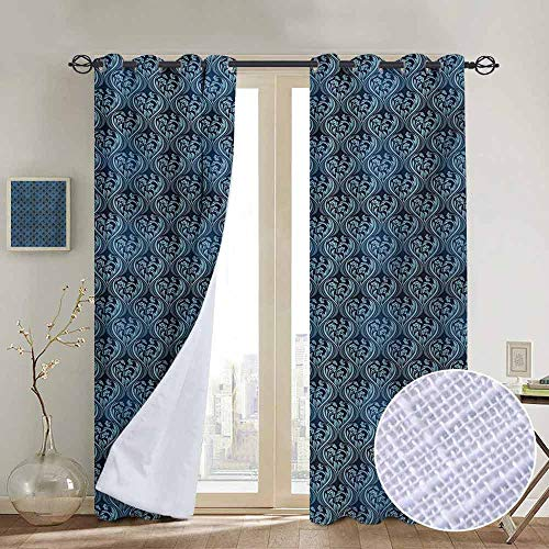 (NUOMANAN Window Blackout Curtains Victorian,Ornamental Renaissance Flourish with Venetian Design in Blue Shades,Dark Blue and Pale Blue,for Room Darkening Panels for Living Room, Bedroom 84