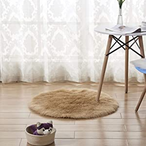 TriGold Ultra Soft Fluffy Area Rugs, Round Not-Slip Shaggy Floor Carpets Modern Luxury Home Decor Plush Mats for Living Room Bedroom-Khaki D120cm(47inch)