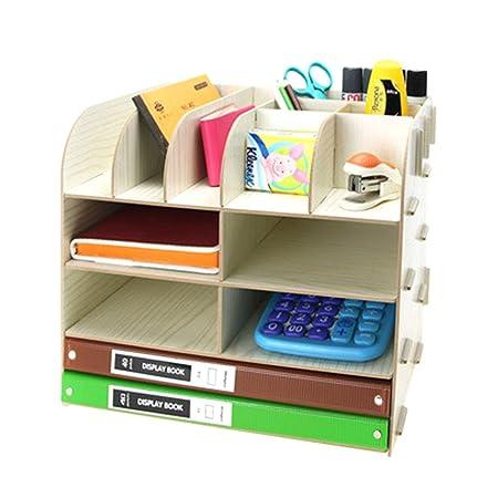borok DIY Organizador de escritorio mesa organizador Estantería de ...
