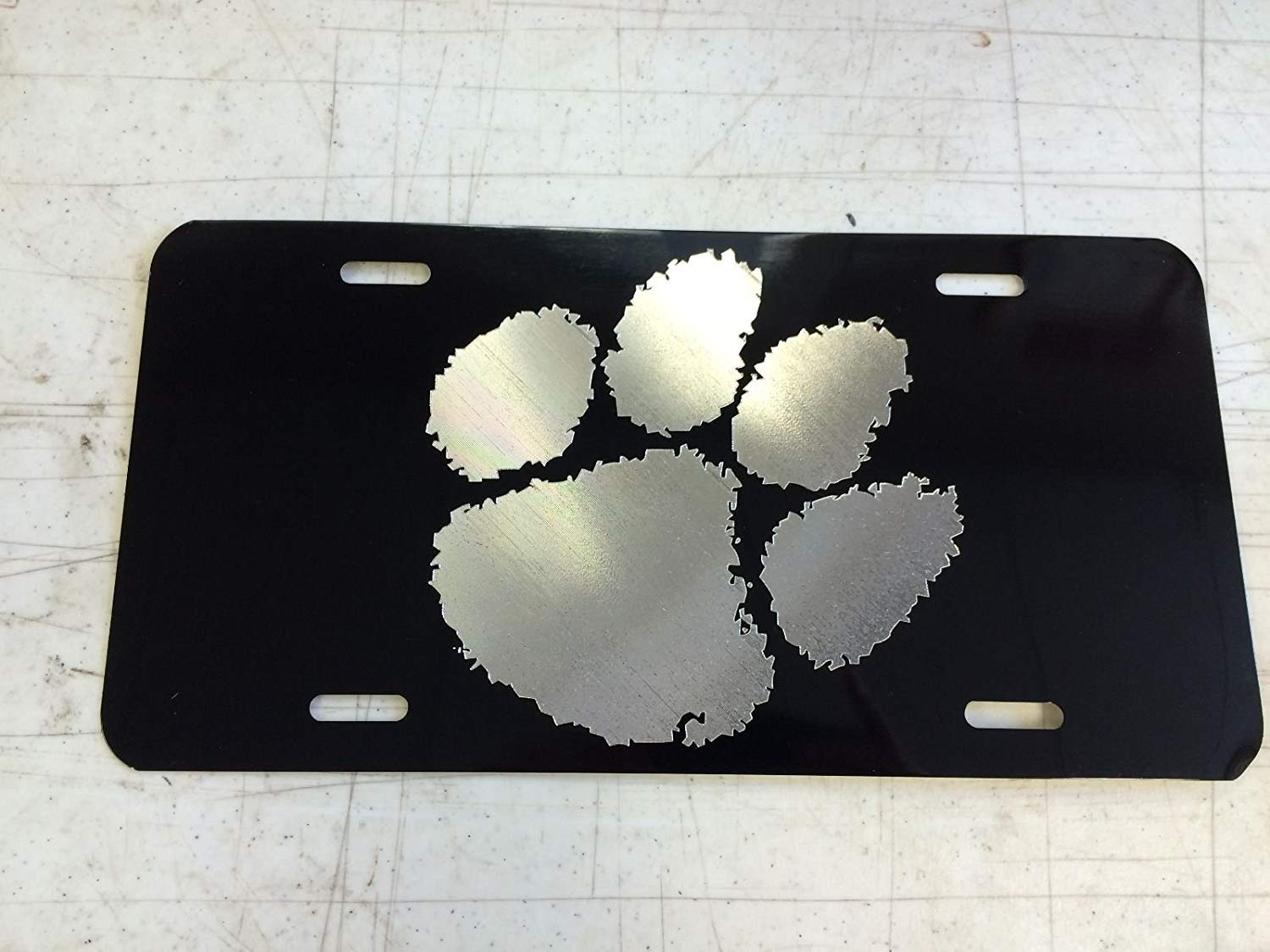 Chik yx Clemson Tiger Paw Car Tag on Aluminum License Plate
