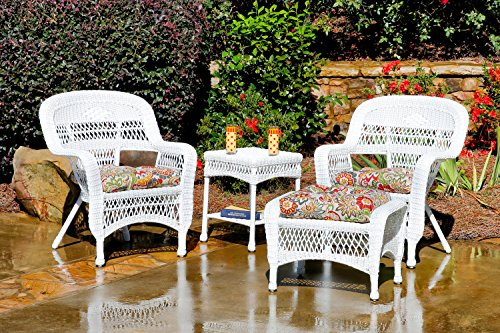 Tortuga Outdoor 4 Piece Chat Set with 2 Wicker Arm Chairs, Wicker Side Table and Ottoman - White Wicker (Zoe Citrus)