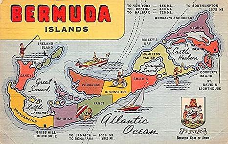 Bermuda Islands Map Bermuda, Somers Isles Postcard at Amazon\'s ...