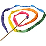 Sarah's Silks - Rainbow Silk Streamer, Baltic Birch Wood, 100% Real Silk, 8-Foot Long 1-Inch Wide Ribbon Dancer Wand