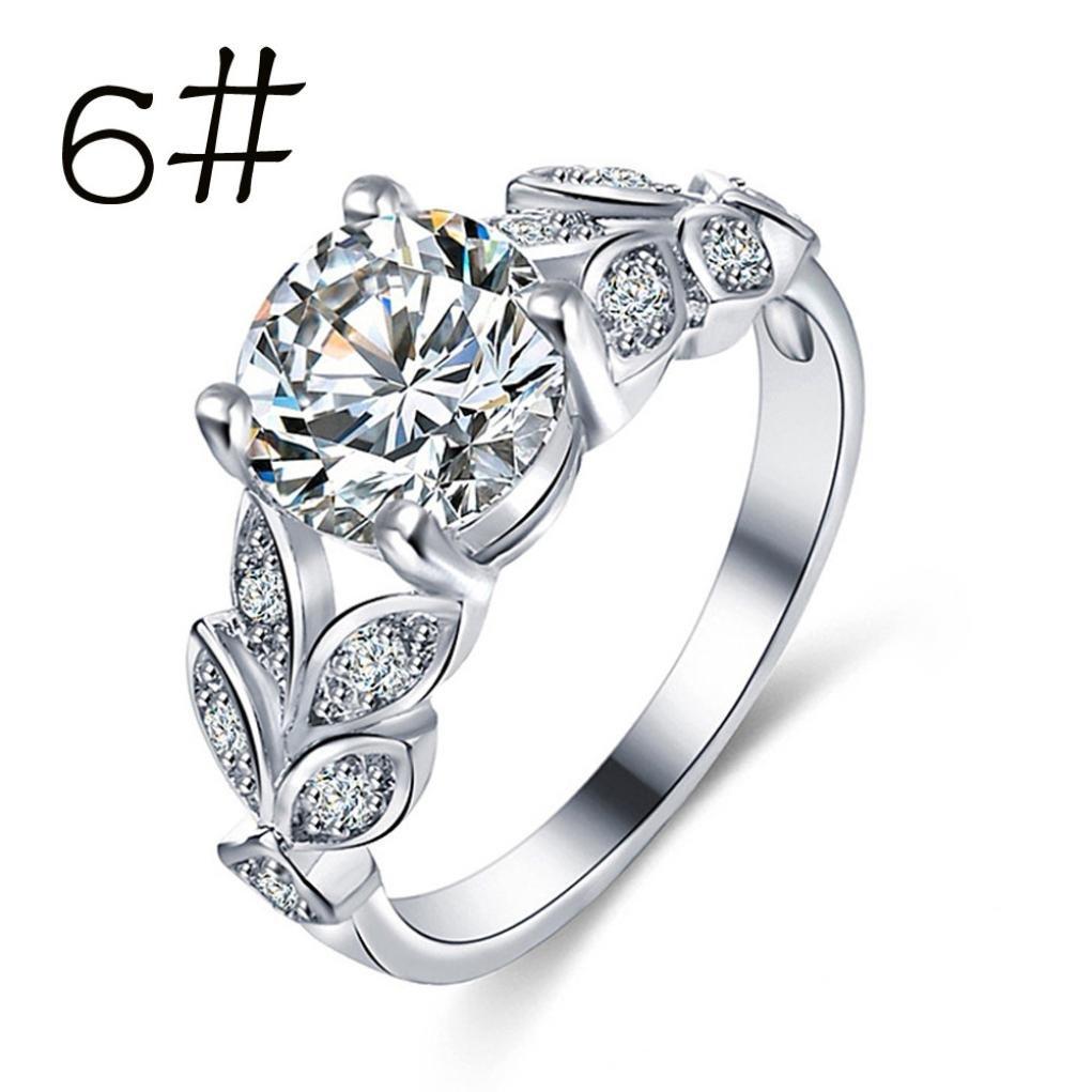 Sunward Crown Rings Floral Ring Rose Flower Crystal Diamond Wedding Ring for Women Girl Size 6-9 (Silver, 6)
