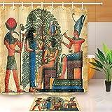 LB Ancient Egyptian Myths Mural Pharaoh Wall Painting Children Decoration Shower Curtain Polyester Fabric 3D 72x72'' Waterproof Horus Hathor Isis Osiris Kids Bathroom Accessories Bath Liner Mat