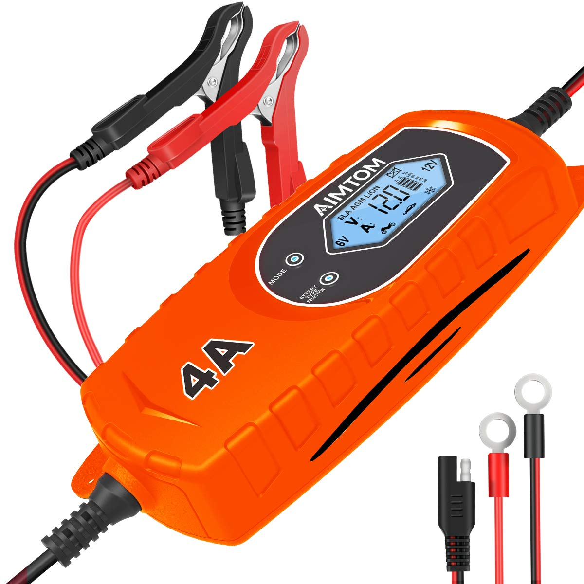 AIMTOM Smart Battery Charger 4 Amp 6/12V Fully Automatic Maintainer 8-Stage Charging Process for Car, Truck, Motorcycle, Boat, RV, SUV, ATV Fits SLA, Wet, MF, Gel, VRLA, AGM, EFB, Lion Batteries IBC-4000