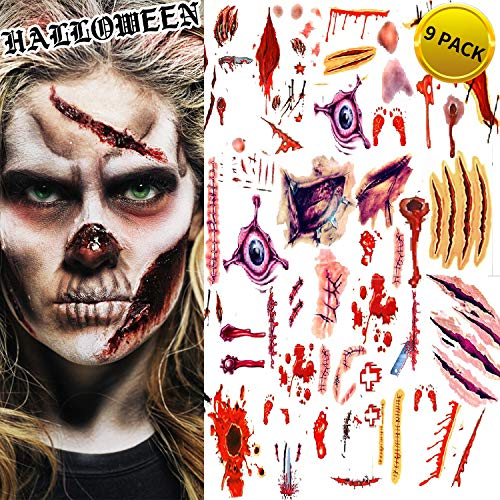 AG-So-So Halloween Tattoos, Scar Wound Temporary Tattoo, 9 Pack Waterproof Horror Realistic Fake Bloody Injury Stitch Scar, Scar Makeup Bleeding Wound Blood for Party Prop, Zombies Cosplay Costume