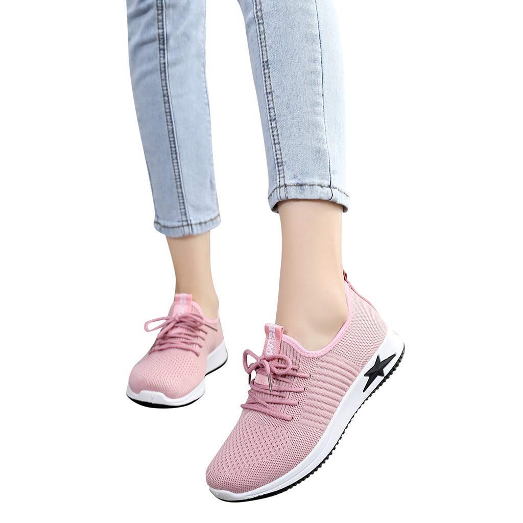 Hot 2019 New Women's Fashion Mesh Sneaker Running Breathable Sport Shoes Outdoor Casual Lace Up Shoes (Pink, 5.5)