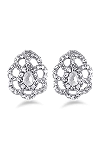 e5281d16cbad19 Buy Fancy Style Design Silver Color Earrings with White Stones Online at  Low Prices in India | Amazon Jewellery Store - Amazon.in