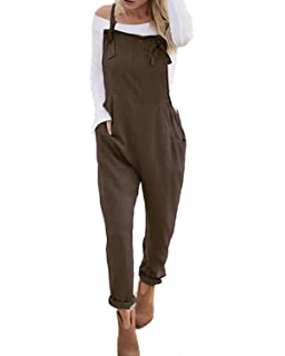 06b4d924fa ACHIOOWA Women s Sleeveless Overall Strappy Pocket Jumpsuit Baggy Romper Bib  Loose Trousers