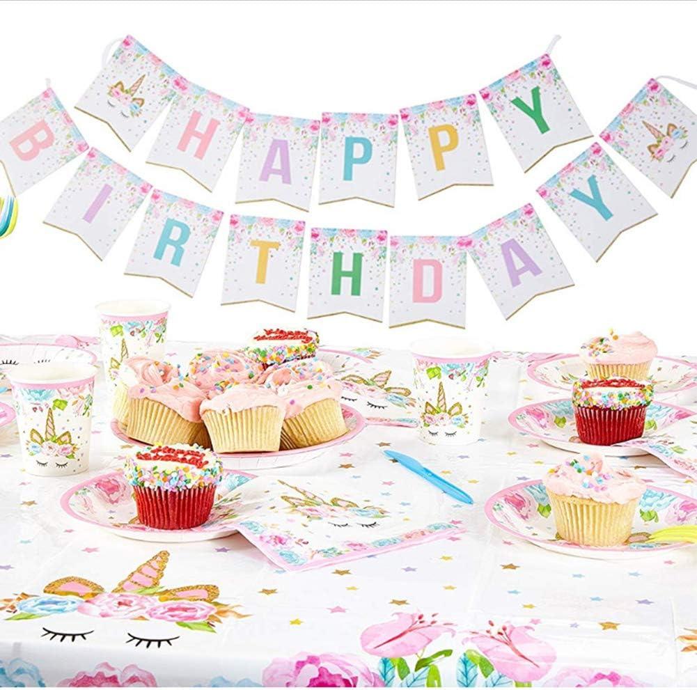 Unicorn Party Supplies Set and Tableware Kit Birthday Decorations Bunting Disposable Paper Plates Cups Napkins Plastic Table Cloth,BONUS Balloons,Background cloth,Headband,Satin Sash,Serves 16