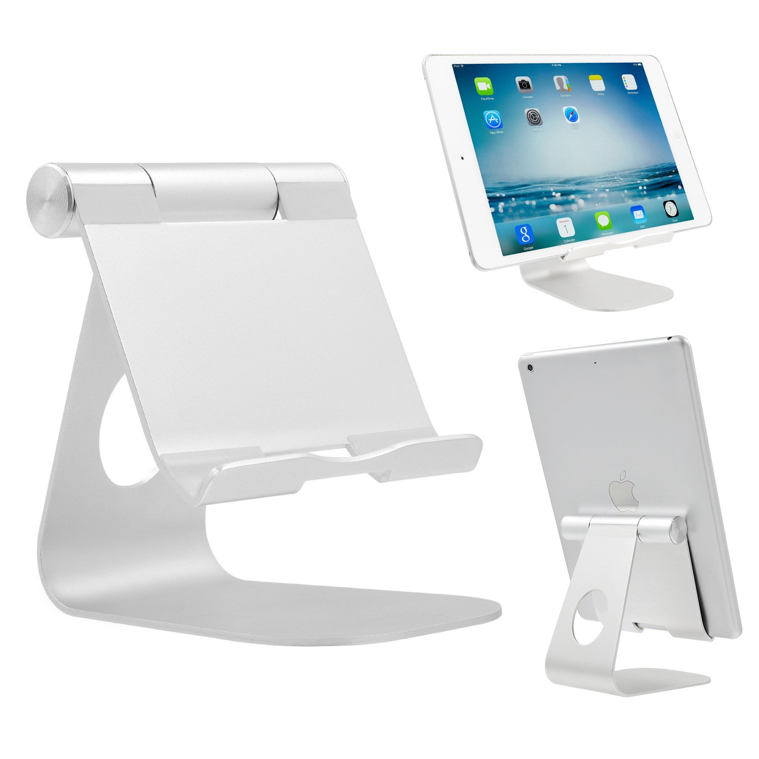 iPad Stand Adjustable Aluminum Tablet Stand, Desktop Stand Holder Dock for iPad Pro 9.7, 10.5, 12.9, Air 2 3 4 mini, Kindle, Nexus, Accessories, Tab, E-reader Other Android Tablets (4-13 inch) Silver by Portefeuille