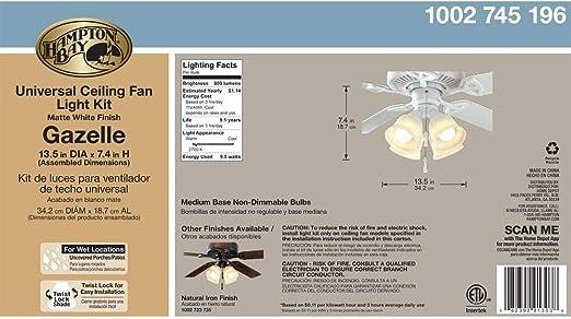 Hampton Bay Gazelle LED Universal Ceiling Fan LIGHT KIT Matte White New