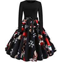 Paskyee Women's Christmas Santa Claus Print Vintage Swing Casual Party Dress