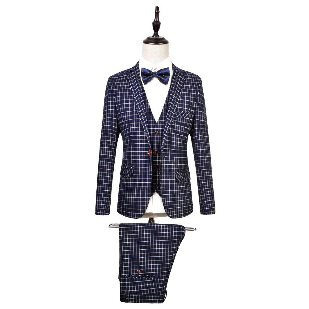 WEEN CHARM Mens 3-Piece Suit Slim Fit Plaid One Button Casual Wedding Blazer Jacket Tux Vest Pants Set