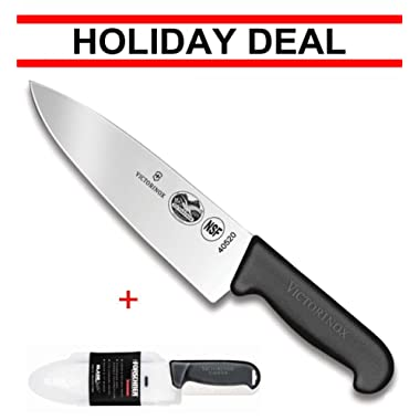 Victorinox Swiss army, Fibrox Straight Edge Chef's Knife, 8-Inch, Black, With Victorinox Cutlery BladeSafe for 8-Inch to 10-Inch Knife Blades. Combo pack