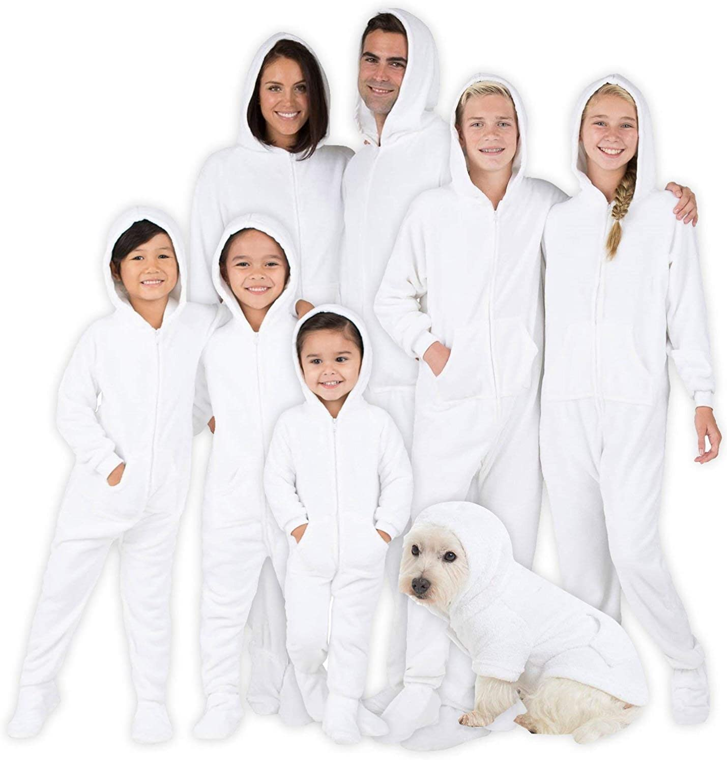 Men Footed Pajamas Girls Family Matching Frosted White Hoodie Onesies for Boys Women and Pets
