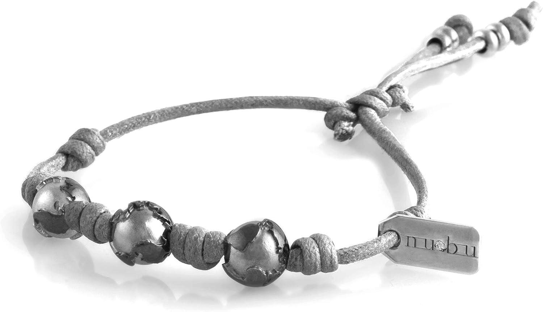 Nubu Pulsera de plata 925 con diamante y cordón colgante | Mujer y Hombre | Pulsera de viaje artesanal | Hecho a mano en Italia