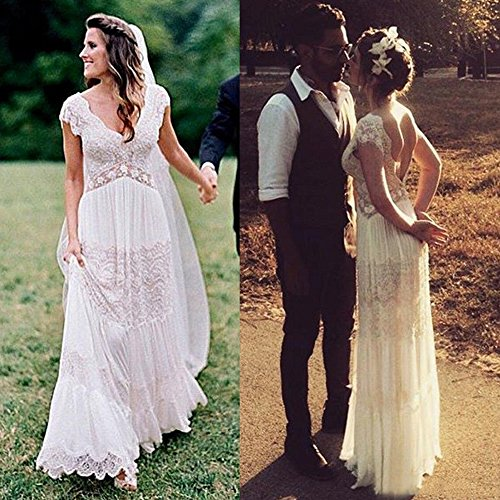 Sexy Double V Neck Boho Wedding Dresses for Bride 2017 Lace Bridal Gowns