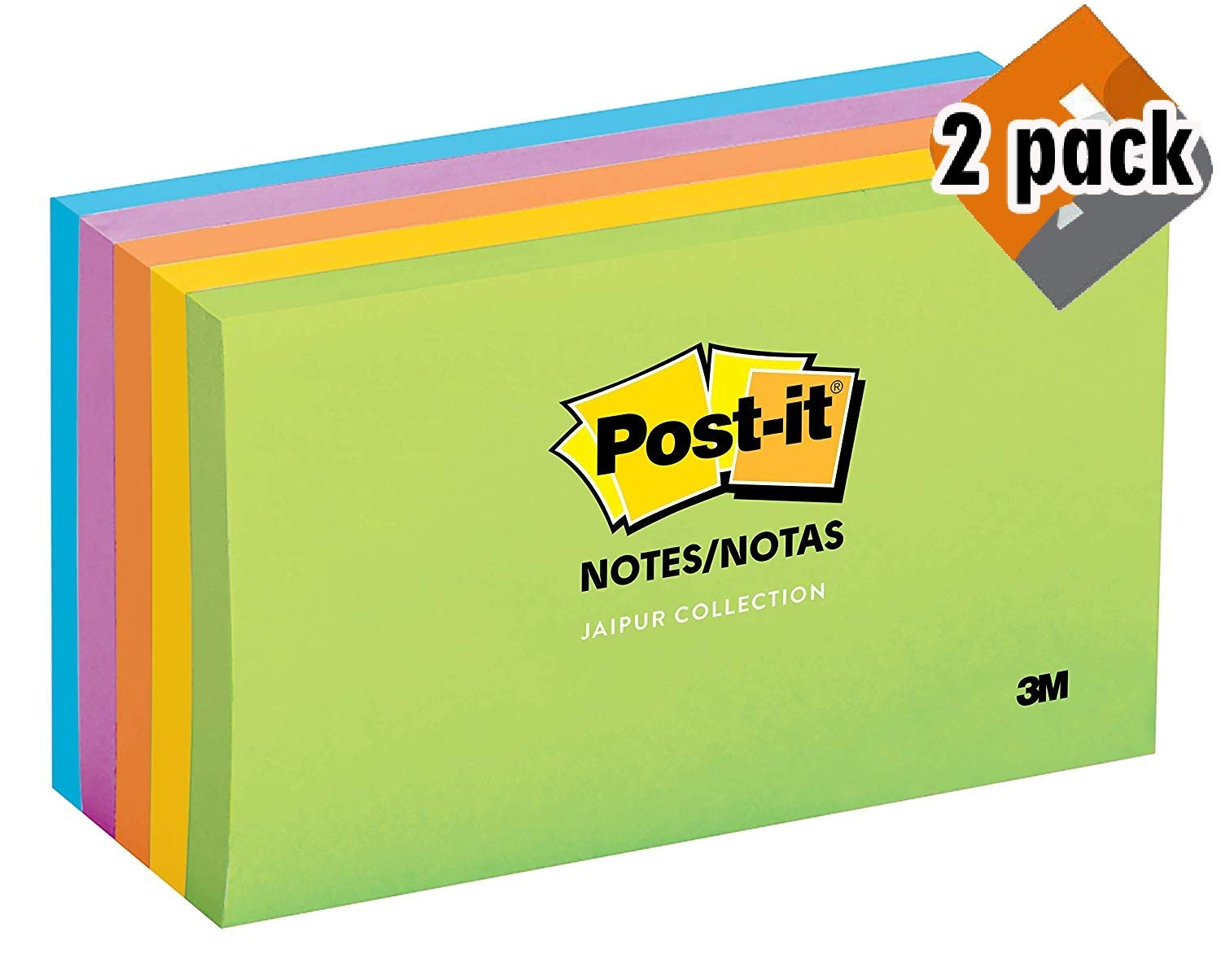 Post-it Notes, Jaipur Colors, America's #1 Favorite Sticky Note, 3 in. x 5 in, 5 Pads/2 Pack, (655-5UC)