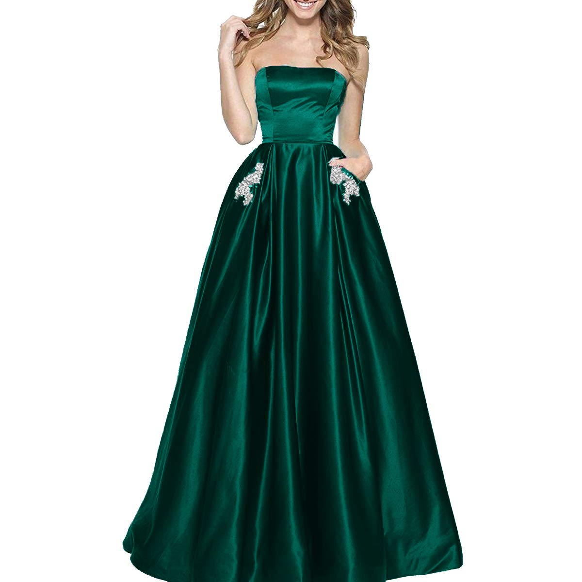 Teal bluee TTYbridal Women's ALine Strapless Beaded Prom Dresses Long Satin Homecoming Party Gown with Pockets