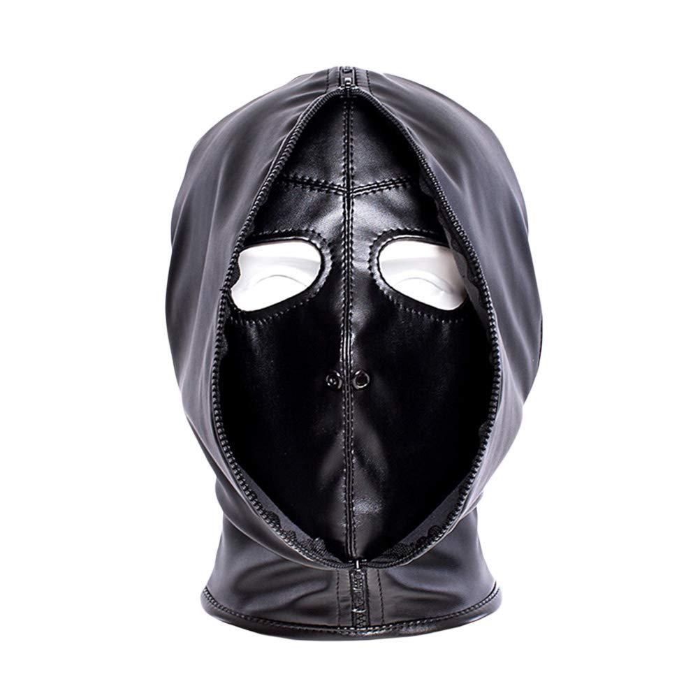 BESTOYARD Costume in pelle nera Maschera Gimp Testa in cuoio Maschera cappuccio Bondage Coppia erotica Flirtare Giocattoli per uomo