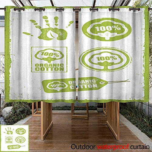 Home Patio Outdoor Curtain Organic Cotton Creative Concept On Grunge Rust Background Eco Green Set of Vector Icons W55 x L72 ()