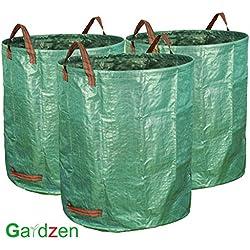 Gardzen 3-Pack Garden Bag - Reuseable Heavy Duty Gardening Bags, Lawn Pool Garden Leaf Waste Bag (3 x 72 Gallons)