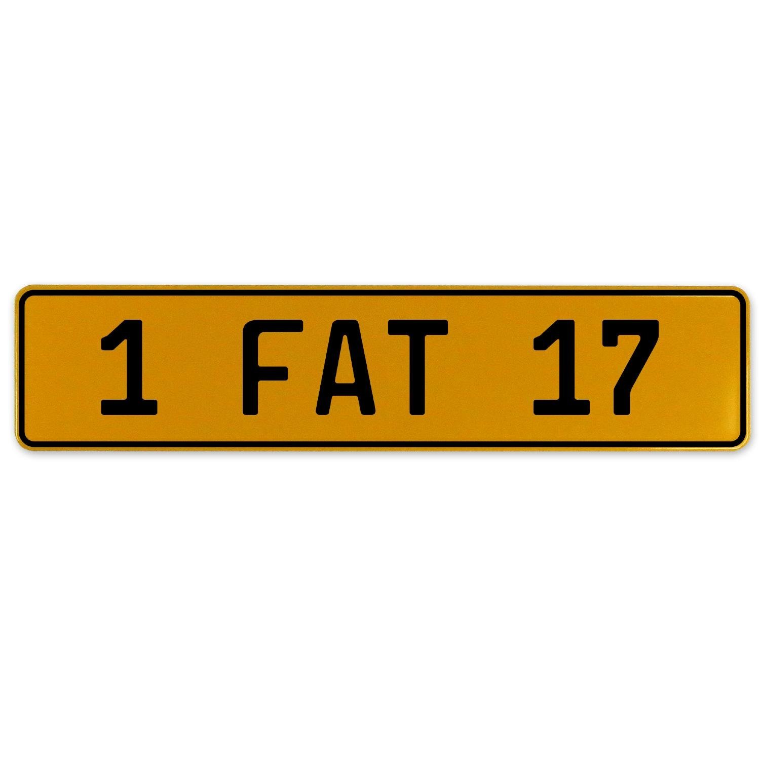 1 Fat 17 Vintage Parts 559663 Yellow Stamped Aluminum European Plate