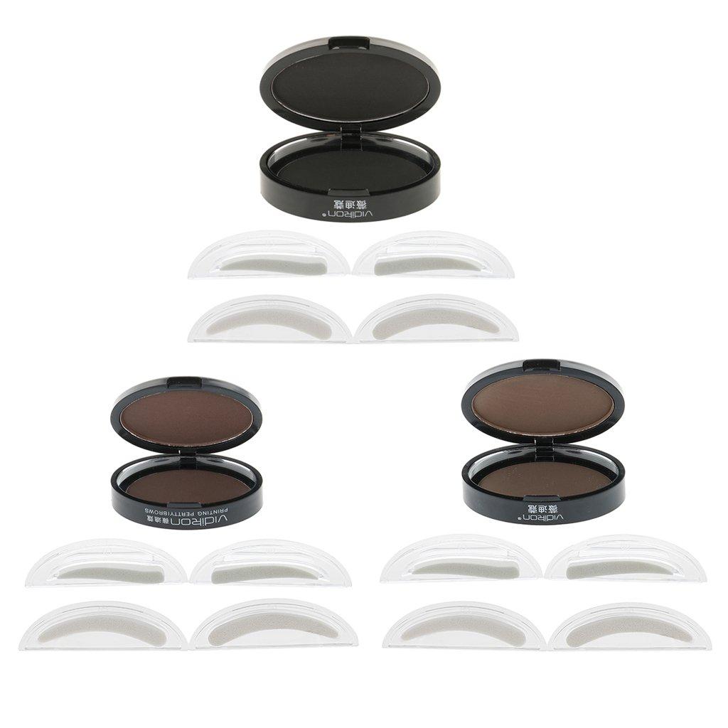 Baosity Maquillaje de Ceja en Polvo Natural y 2 Pares de Sellos para Plantillas de Cejas Naturales - Marrón claro: Amazon.es: Belleza