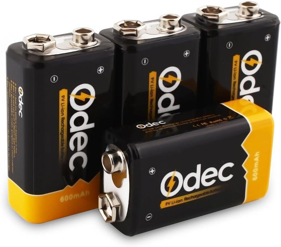 Pila recargables 9V de Iones de Litio y 600mAh. Vida útil +1.200 cliclos y baja autodescarga, Marca Odec