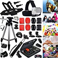 Xtech® FAMILY & FRIENDS Accessories KIT for GOPRO HERO4 SESSION, HERO4, HERO 4 3+ 3 2 1 Hero4 Hero3 Hero2, Hero 4 Silver, Hero 4 Black, Hero 3+ Hero3+ Hero 3 Silver, Hero 3 Black and for Birthdays, Weddings, Girls/Boys Night Out, BBQ, Camping, Traveling, Family Trips and other Similar Family and Friends Activities Includes: + Head Strap Mount + Chest Strap Mount + Large GoPro Camera Travel Case + Selfie Stick Monopod Pole + Camera Wrist Mount + 2 J-Hook Mount + Helmet Harness Mount + MORE