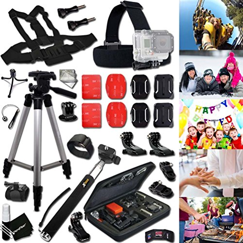 Cheap Xtech® FAMILY & FRIENDS Accessories KIT for GOPRO HERO4 SESSION, HERO4, HERO 4 3+ 3 2 1 Hero4 Hero3 Hero2, Hero 4 Silver, Hero 4 Black, Hero 3+ Hero3+ Hero 3 Silver, Hero 3 Black and for Birthdays, Weddings, Girls/Boys Night Out, BBQ, Camping, Traveling, Family Trips and other Similar Family and Friends Activities Includes: + Head Strap Mount + Chest Strap Mount + Large GoPro Camera Travel Case + Selfie Stick Monopod Pole + Camera Wrist Mount + 2 J-Hook Mount + Helmet Harness Mount + MORE