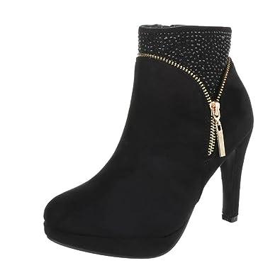 Damen Stiefelette/High Heels/Halbhohe Stiefel/Damenschuhe mit Plateausohle/Ankle Boots/Schwarz, EU 36