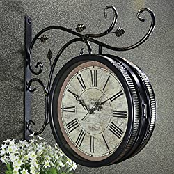 Vintage wrought-iron double sided wall clock,Silent clock Living room wall clock Technology clock-N