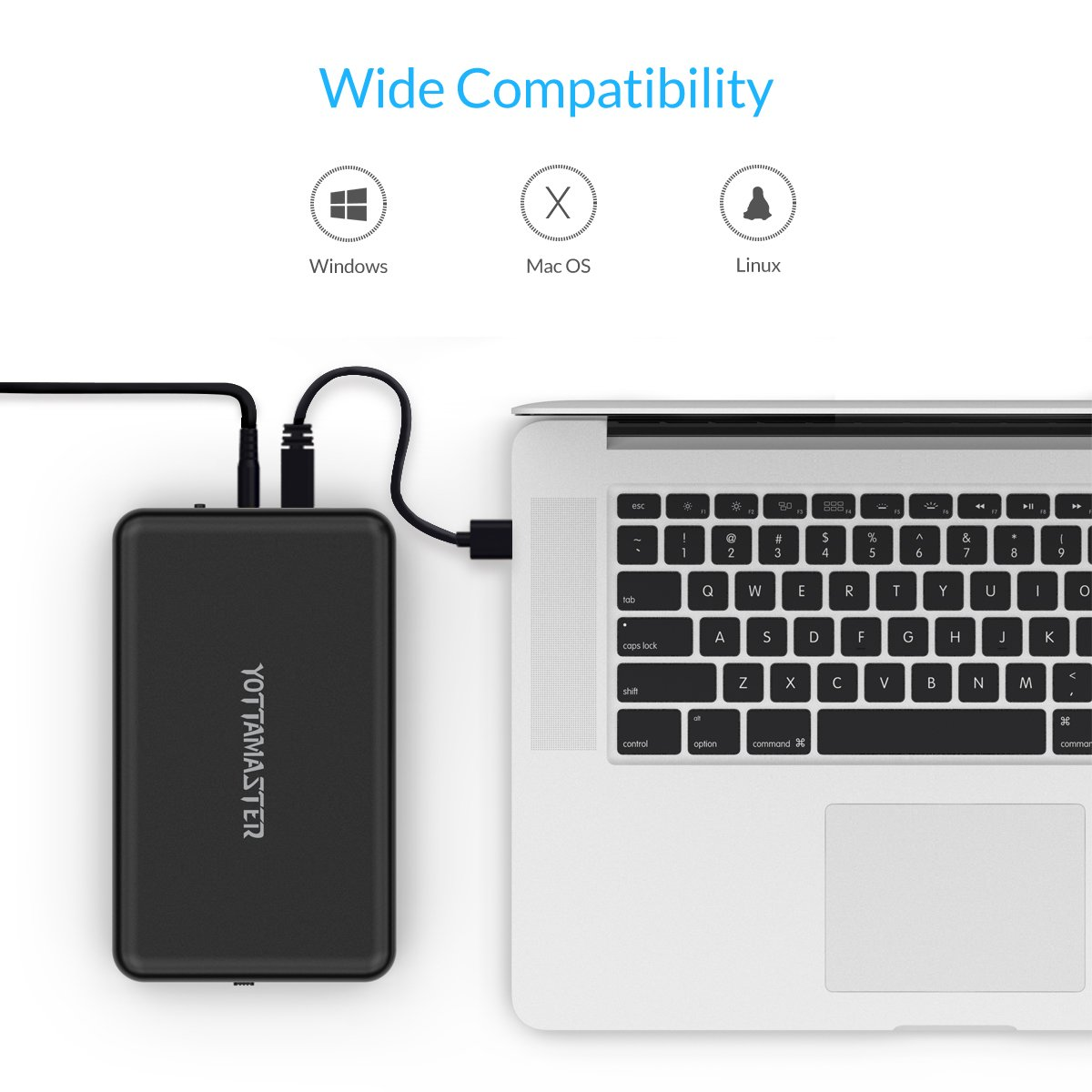 Supports UASP /& 8TB Yottamaster 3.5 inch Type C External Hard Drive Enclosure for 3.5inch SATA HDD SSD Tool-Free