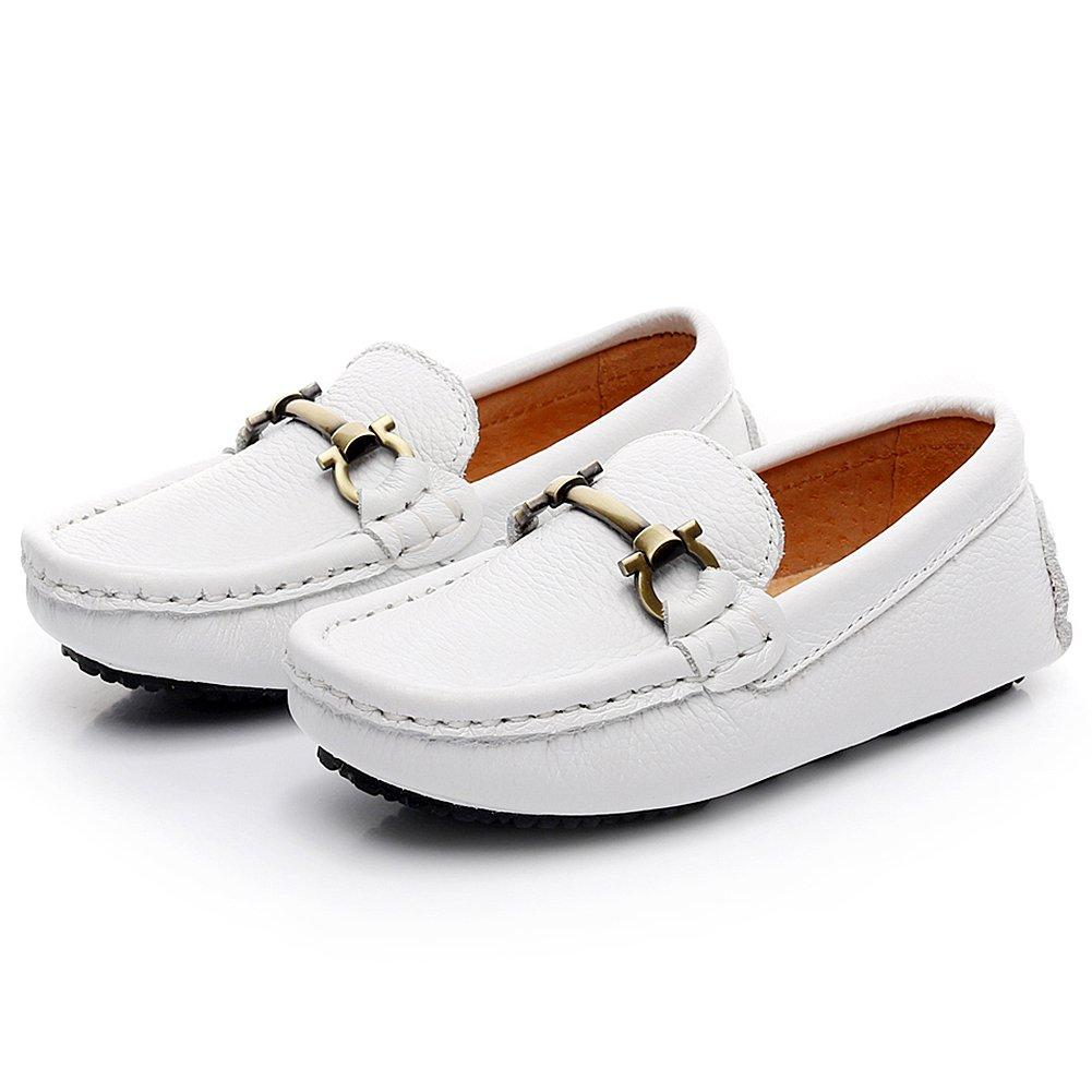 Shenn Niños Chicos Ponerse Aldaba Diseño Calidad Superior Vestir Cuero Mocasines Zapatos: Amazon.es: Zapatos y complementos