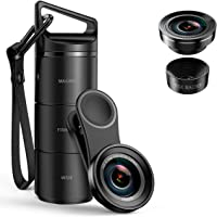 (2020 New Upgraded) Phone Camera Lens, 3 in 1 Cell Phone Lens Kit for iPhone, Samsung, 180°Fisheye Lens, 0.6X Wide Angle Lens, 15X Macro Lens, for TIK Tok Video, Live Show, Video Chat, Vlog, etc